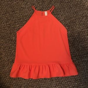 Amanda Uprichard | Orange Halter Peplum Top
